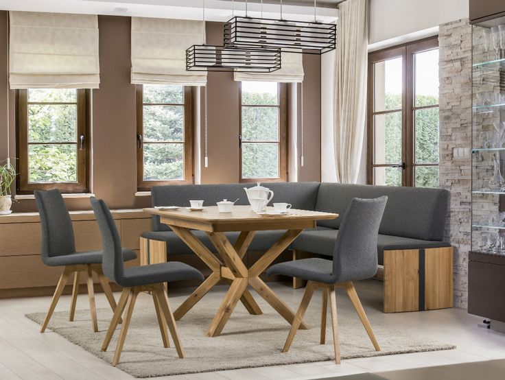 Modern dining room with rustic vibre - S61 chairs and T53 table mode from solid wood #KloseFurniture #diningroom #woodentable