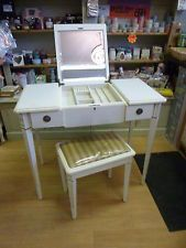 Vintage Style Cream dressing table & Stool With Foldaway  Mirror & Jewelry Box