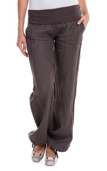 Женские льняные брюки на резинке