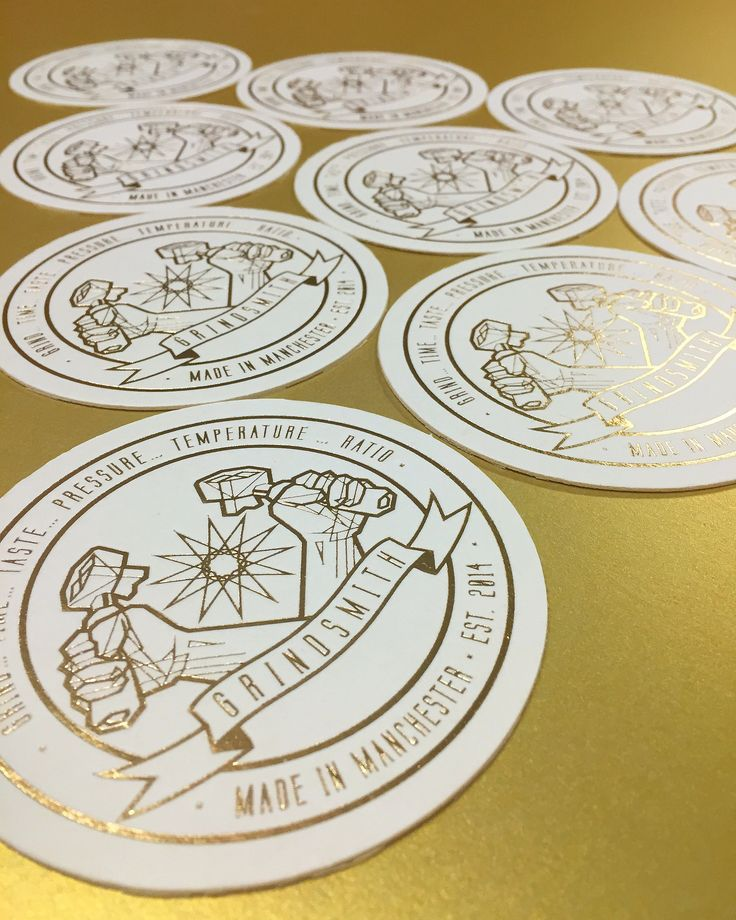 @grindsmith gold foiled beermats printed by Lost Heritage
