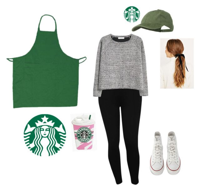 """""""Starbucks barista Halloween costume!"""" by diy4life ❤ liked on Polyvore featuring M&Co, MANGO and Converse"""