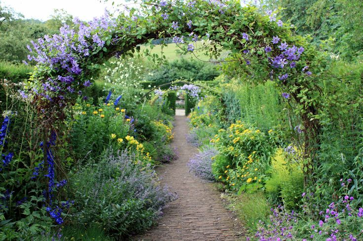 Repeated archways over the path.... Arches are wider than the path, adore this look!
