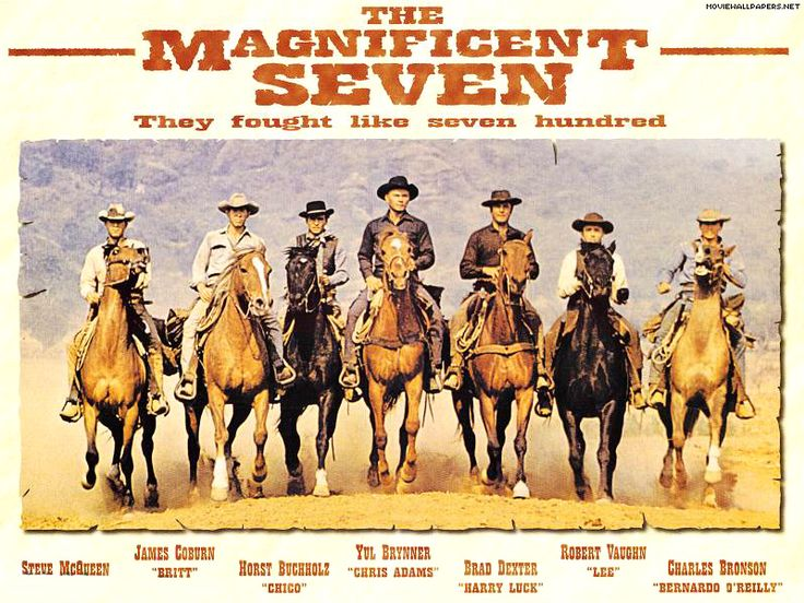 The Magnificent Seven (1960) Fed up with being brutalized and impoverished because of outlaw raids led by a merciless brigand, the besieged citizens of a small Mexican town hire seven American gunslingers to stave off the marauders once and for all. Cast: Yul Brynner, Eli Wallach, Steve McQueen, Charles Bronson, Robert Vaughn, Brad Dexter, James Coburn...20a