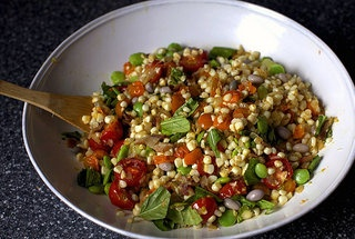 Summer Succotash with bacon and croutons....turkey or soy bacon for me ...