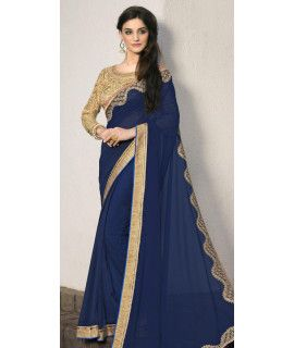 Dazzle Blue Georgette Saree.