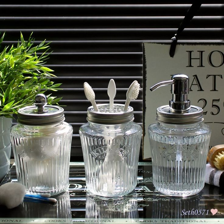 Vintage Kilner Jar Bathroom Accessory Set in Clear Glass with Chrome Tops