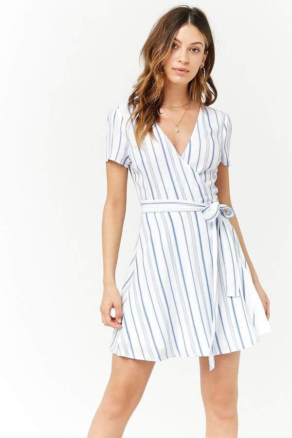 3e519ba0fe Forever 21 Striped Surplice Wrap Dress  ads  dress  springfashion   springstyle