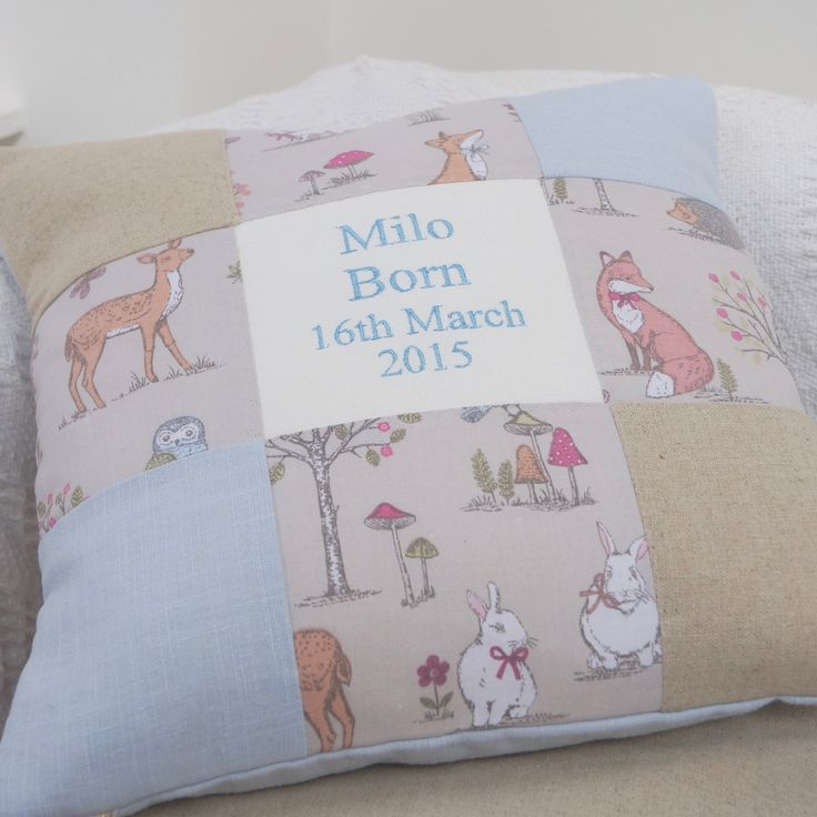 Woodland Name and Date Cushion Blue
