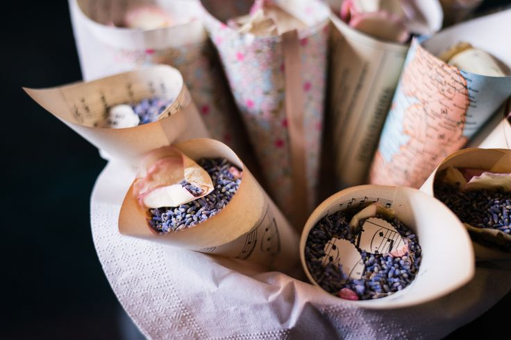 Confetti cones of lavender, rose and paper hearts. Wedding day at Villa Nozzole. Tuscany, Italy