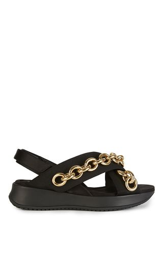 Black Leather Actonshire Chain Sandals by BURBERRY Now Available on Moda  Operandi