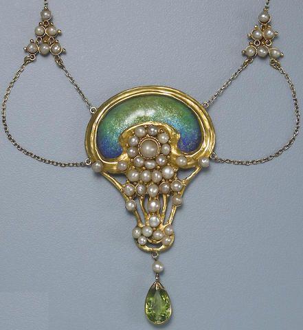 An art nouveau enamel, gem-set, and gold necklace