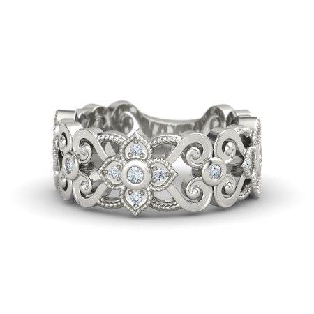 14K White Gold Ring with Diamond   Spanish Lace Band   Gemvara