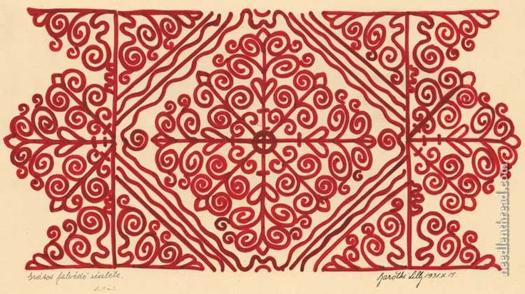 Redwork pattern inspired by Hungarian folk embroidery, designed by Lilly Baróthi Zathureczky.-- from Mary Corbet's Needle n Thread. (There are two black-and-white computer-generated versions to download for easier pattern transfer, one with thick lines and one with thin lines.)