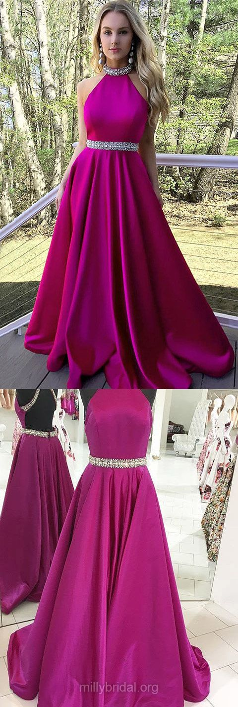 Long Prom Dresses,2018 Prom Dresses For Teens,Princess Prom Dresses High Neck, Satin Prom Dresses Beading,Elegant Formal Dresses For Women