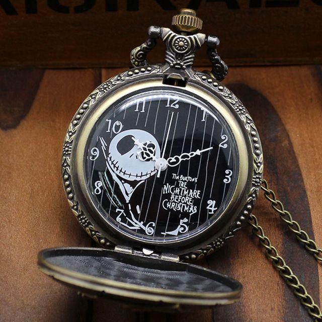 Free Postage Bronze The Nightmare Before Christmas Coffin Quartz Pocket Fob Watch With Chain Necklace. Męskie zegarki kieszonkowe