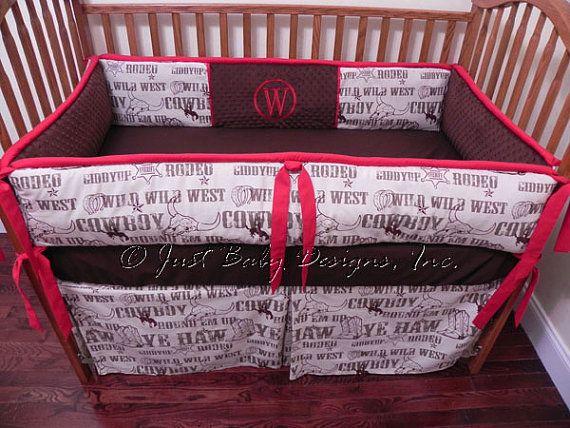 Custom Crib Bedding Cowboy Rodeo by BabyBeddingbyJBD on Etsy, $249.00 @Stephanie Fallgreen