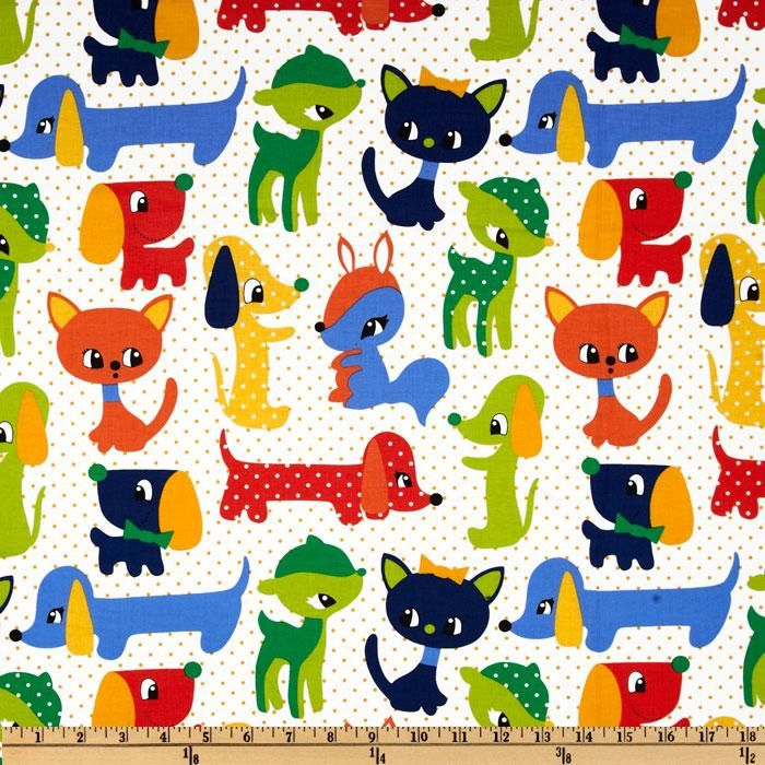 Kids plush puppies primary blue discount designer fabric for Cheap kids fabric