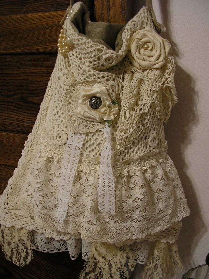 Romantic Shabby Chic Bag, crocheted, lace, doilies, hand turned roses, pearls. $120.00, via Etsy.