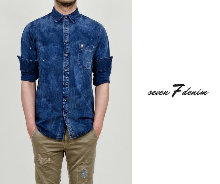 SEVEN 7 Denim - Ανδρικό πουκάμισο τζιν με χειροποίητες πιτσιλιές.  #Hip #Hipyourtshirts #Hipyourstyle #Style #New #Womens #Mens #Fashion #7Denim #SevenDenim #Denim #Jeans #AW15 #Collection #Exclusive #Rhodes #Greece