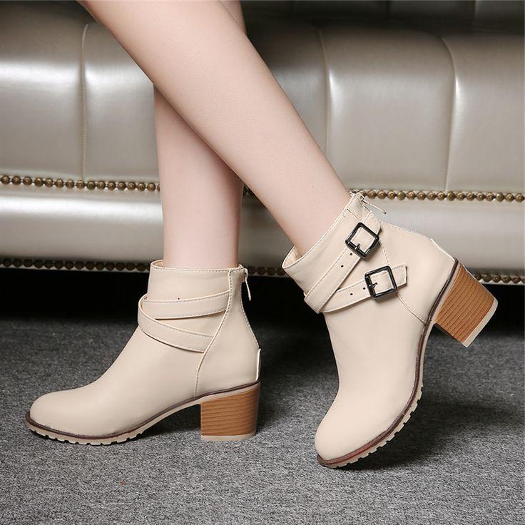 Herfst en winter vrouwen schoenen vintage Europa ster mode vrouwen hoge hakken enkellaars Sneeuw korte laarzen rits plus size 34-43