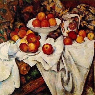 Paul Cezanne - still life of fruit Presents a scene as media present a scene or story Cloth manipulates image and appearance of image as media manipulate a story