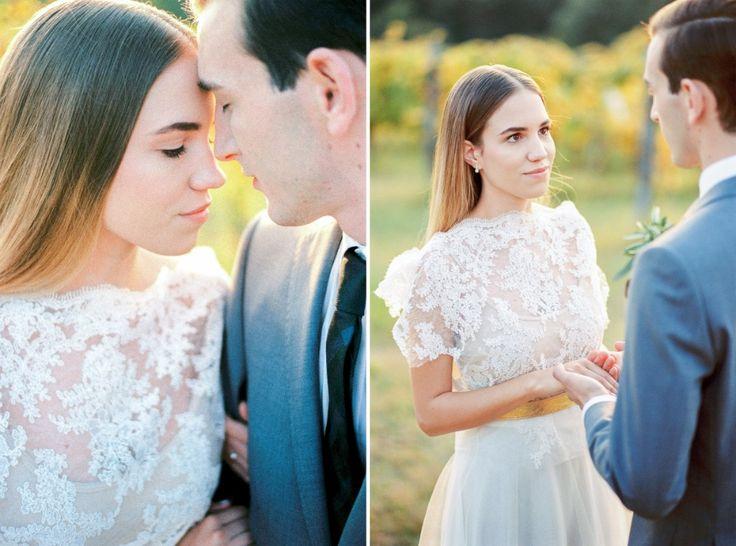 Wedding in the sunset, vineyard, grey, green