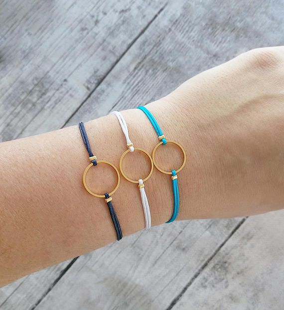 Circle charm bracelet friendship bracelet macrame bracelet