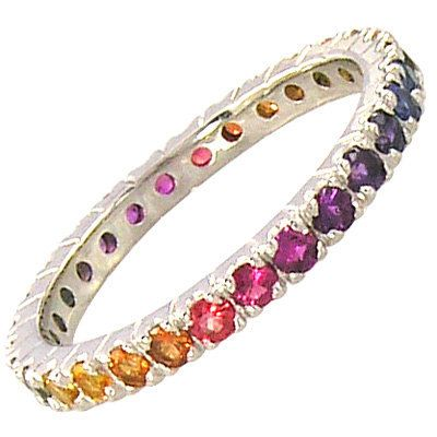 Multicolor Rainbow Sapphire Pave Set Eternity by RainbowSapphire