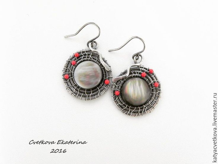 Купить Серебряные серьги - серый, серьги ручной работы, серьги с камнями, серьги круглые