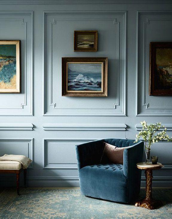 pale blue wall paint. / sfgirlbybay #mouldings #paneling #paintedpaneling