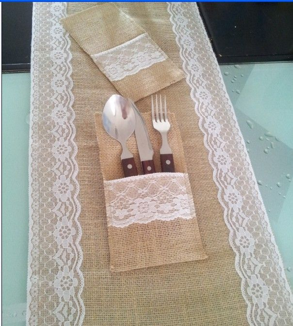 Find More Table Runner Information about 30x270cm x burlap wedding table runner /lace jute  table runner with 10 pcs burlap  Silverware  tray holder,High Quality table runner blue,China table seat Suppliers, Cheap table business card holder from Rustic Wedding decoration on Aliexpress.com
