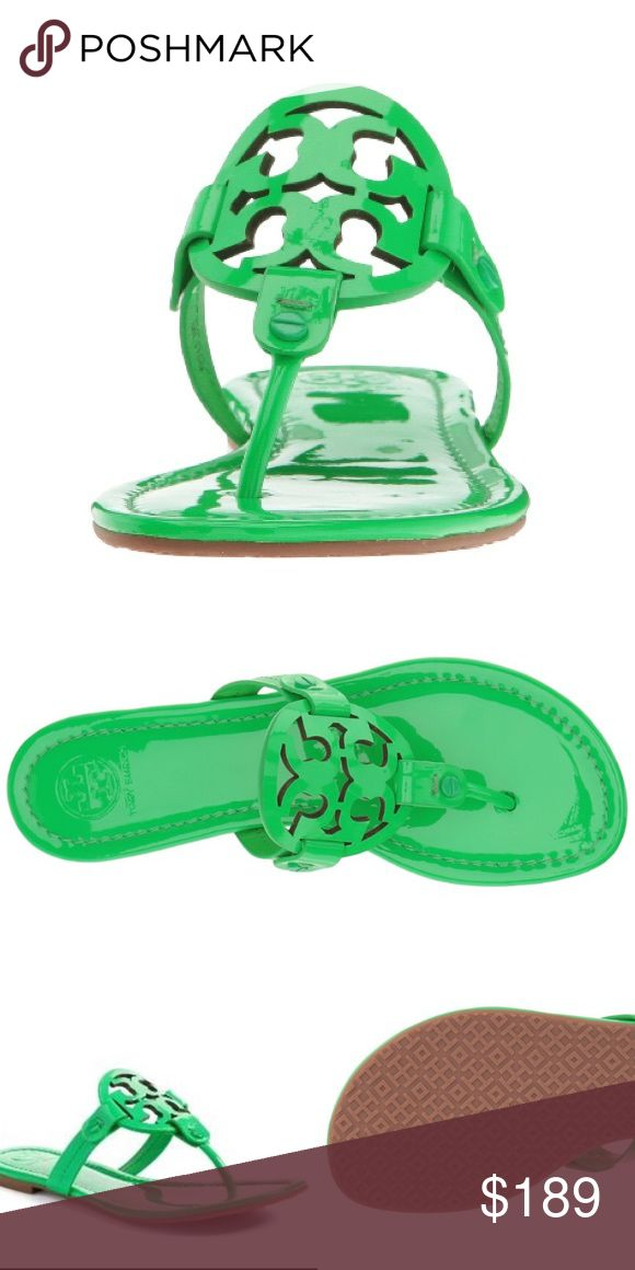 ⭐️NWT⭐️ Tory Burch Miller Sandals - Fluo Green Signature brand logo cut out at instep. Slip on design. Smooth leather lining.  Lightly padded leather footbed. Textured synthetic outsole.  Imported; ☀️Color : Fluo Green ‼️Price almost firm (Not much scope for reduction) ❌No low ball offers ✔️Item will not be immediately shipped. Tory Burch Shoes Sandals