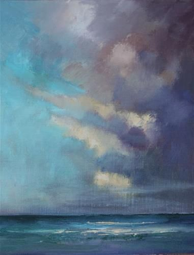 """Clouds over the Atlantic, Beach and Ocean Paintings by Arizona Artist Amy Whitehouse"" - Original Fine Art for Sale - © Amy Whitehouse"