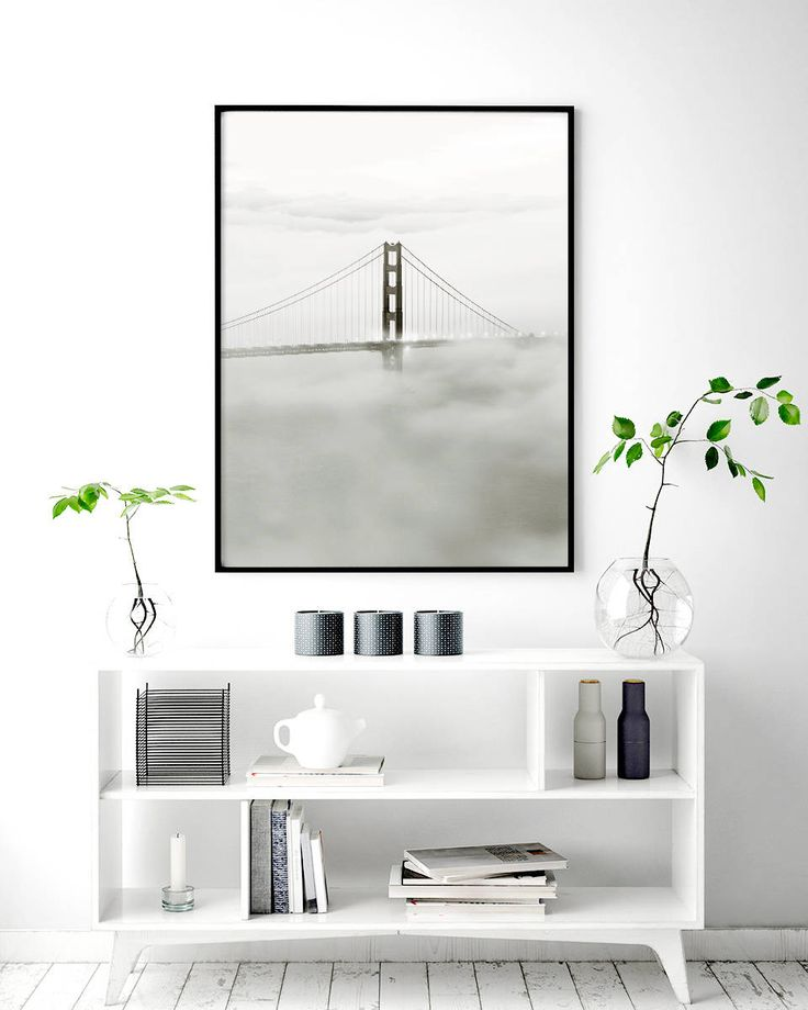 A black and white poster with photo art of Golden Gate Bridge in foggy San Francisco. A very beautiful and strong design that will look good on the wall and fits most decorating styles. You can take a look at more posters with photo and typography art in the category.