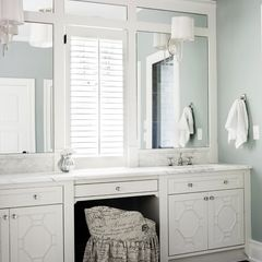 Mirrors with molding and window with shutters in between.   Also like the vanity area with drawer on top (more of a stool for the vanity though).