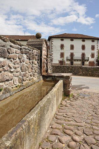 ancient watering trough, Elbete, Navarre, Spain