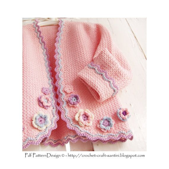 Pink Jacket with flowers for little Girls door PdfPatternDesign