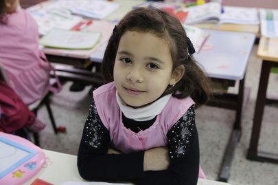 A schoolgirl in a classroom at the Mazouzi Mohamed Primary School in Algiers during Secretary-General Ban Ki-moon's visit to the school.