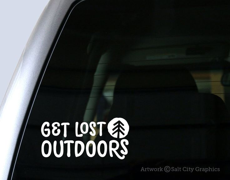 Get lost outdoors car decal or bumper sticker outdoor recreation adventure wanderer camping