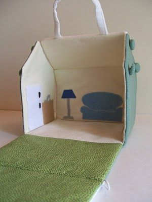 Take along doll house. Can also make a barn with this same pattern.