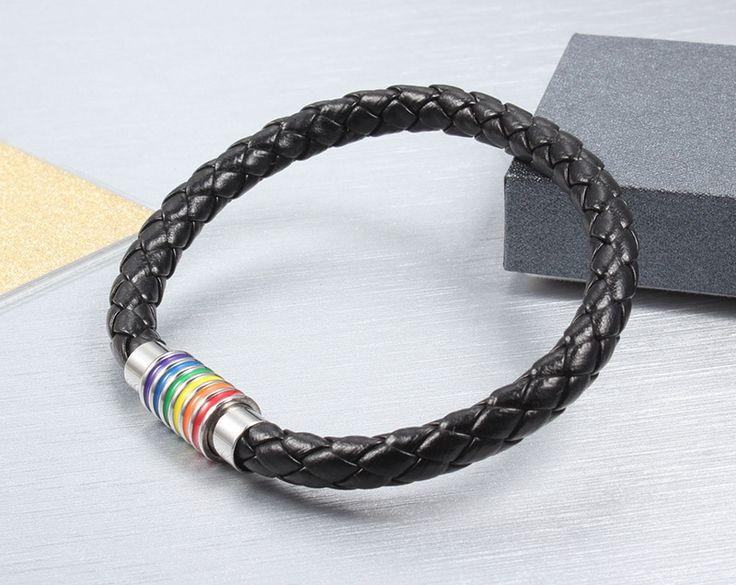 Bracelets Cuir Mode #GAY.Fermoir  aimanté en acier inoxydable- Gay Pride