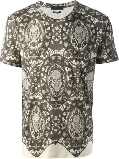 Alexander McQueen Skull And Lace Print T-Shirt
