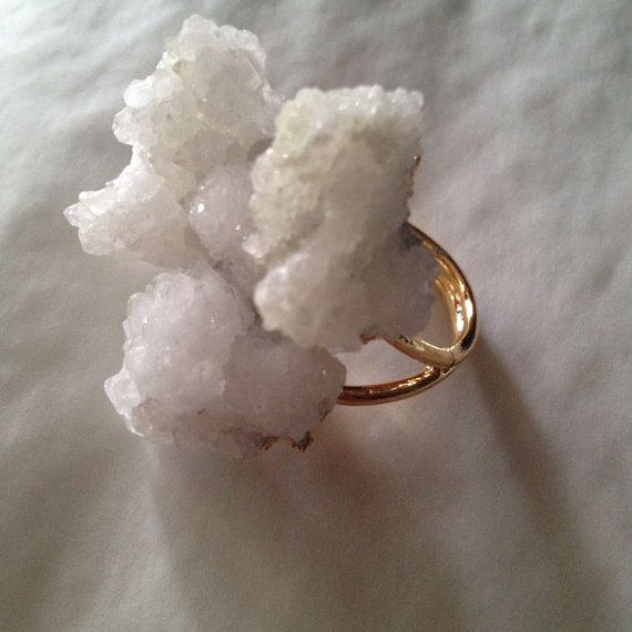Druzy crystal cluster ring on Etsy, $25.00