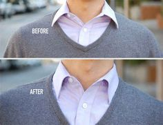 To look more professional and put together, don't forget about collar stays. | 29 Little Things Guys Can Do To Instantly Be More Attractive