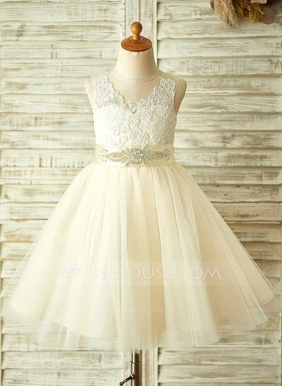 [US$ 67.49] A-Line/Princess Knee-length Flower Girl Dress - Tulle/Lace Sleeveless With Appliques/Bow(s)/Rhinestone (010104939)