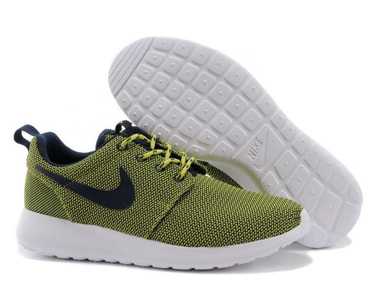 Womens Nike Roshe Run Venom Green Obsidian Summit White Shoes Wholesale