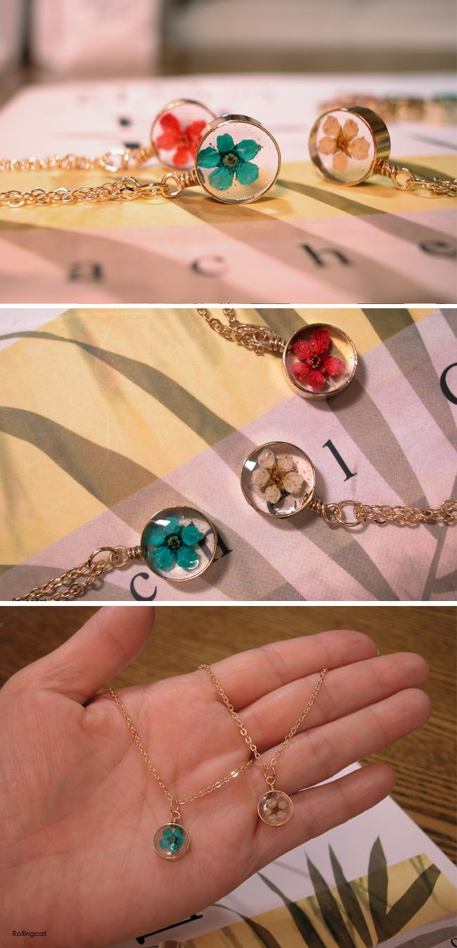 press flower resin necklaces
