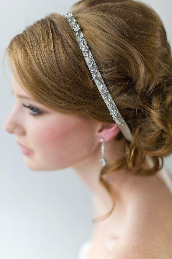 Bridal Ribbon Headband, Luxe Satin Ribbon Headband, Wedding Head Piece, Beaded Ribbon Headband on Etsy, $49.37