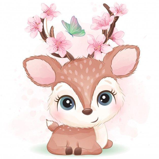 Cute Little Deer With Watercolor Effect Premium Vector Freepik Vector Watercolor Floral Baby Character In 2020 Cute Art Cute Drawings Baby Animal Drawings