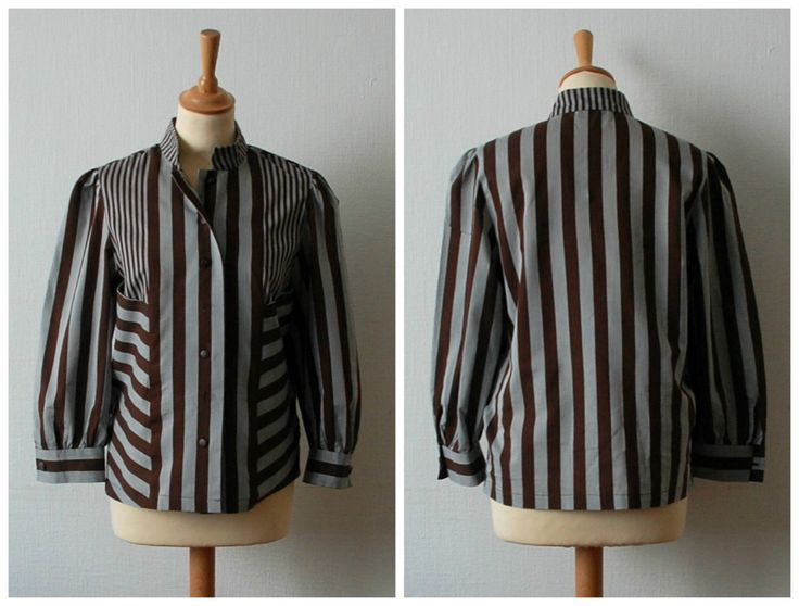 Vintage Brown and Gray Striped Blouse, Women's Size S/M by CamilleVintage on Etsy
